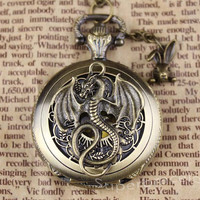 Antique dragon out pocket watch, pocket watch necklace, gift for girlfriend and BFF