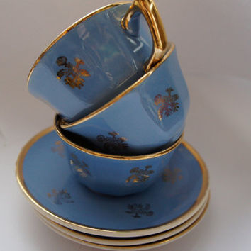 set with 3  Vintage Blue cups , Villeroy et Boch Made in France- Saar