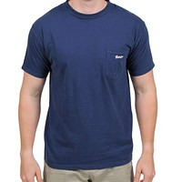 Longshanks Sewn Patch Short Sleeve Pocket Tee in Navy by Country Club Prep