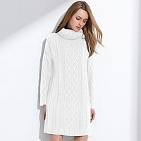 Women Sweater Turtleneck Pullover Women Sweater Dress Long Sweaters Spring White Casual Clothes For Women