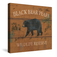 Lodge Signs VIII (Black Bear Peak) Canvas Wall Art