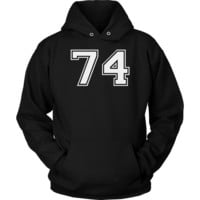 Vintage Sports Jersey Number 74 Hoodie for Fan or Player #74
