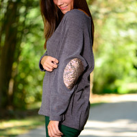 Glitter Patch Top, Charcoal