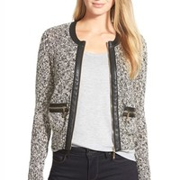 Women's Ivanka Trump Faux Leather Trim Marled Sweater Jacket,