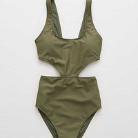 Aerie Super Scoop One Piece Swimsuit , Rugged Green