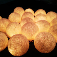 20 x Cream Color Cotton Ball string light for home decorations