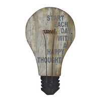 Happy Thoughts Light Bulb Wooden Plaque