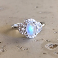 Moonstone Ring- Promise Ring- Art Deco Ring- Engagement Ring- Rainbow Moonstone Ring- Sterling Silver Ring- Art Deco Ring