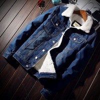 Trendy Men Jacket and Coat Trendy Warm Fleece Denim Jacket Outwear Male Cowboy Clothes homme S-2XL 2018 Winter Fashion Mens Jean Jacket AT_94_13