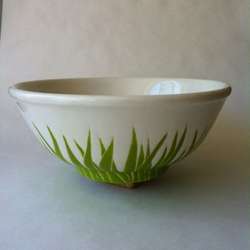 LARGE green grass serving bowl, pasta, salad bowl, centerpiece bowl