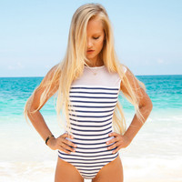 Mesh Patchwork Stripe One Piece Swimsuit Bathing Suit