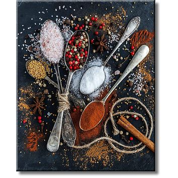 Kitchen Spices Kitchen Décor Picture on Stretched Canvas, Wall Art Décor, Ready to Hang