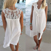 Sexy Women Summer Lace Beach Boho Sleeveless Party Mini Dress