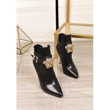 VERSACE  Women Casual Shoes Boots fashionable casual leather Women Heels Sandal Shoes12
