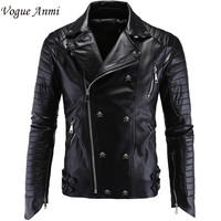 Men's Vogue Anmi Leather Turn-Down Collar PU Leather Skull Punk Jacket