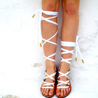 """White or Black metalic Leather Sandals, lace up Sandals, Spartan Greek Sandal, barefoot, Genuine leather shoes, 'Naida"""" Summer shoes, Beach"""