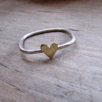 heart ring rustic silver and heart ring brass heart gold jewelry heart jewelry