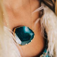Gold Plated Blue Agate Necklace