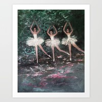 Ballerinas in the Park Art Print by RokinRonda