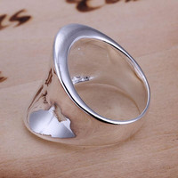jewelry silver plated Ring Fine Thumb Ring Women   Men Gift Silver Jewelry Finger Rings  SM6
