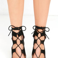Trek the Town Black Suede Lace-Up Booties