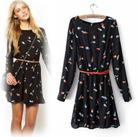 Feather Printed Long Sleeve Dress with Belt