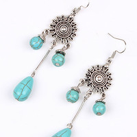 Silver Coin And Turquoise Stone Drop Earrings