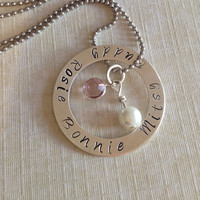"""Personalized necklace, hand stamped jewelry- """"Rescue Ring""""  pet, dog, animal rescue in Sterling Silver"""