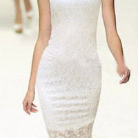 White Sleeveless Floral Crochet Lace Midi Bodycon Dress