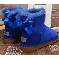 UGG Fashion Women Bow Fur Wool Snow Boots Shoes