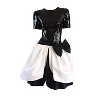 Vintage Black and White Sequins + Silk Cocktail Pouf Dress w/ Bow