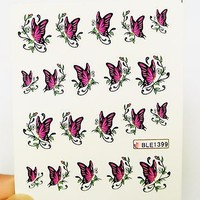 3 sheets Pink Butterfly water Nail Decal, Butterfly Nail Art