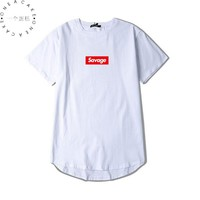 ONE A CAKE Savages Men Hip Hop Tee Shirts Summer Suprem Street T-Shirt Fear Of God Red Letter Printed Cotton Tops Brand Clothing