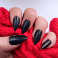 Matte Black Nails / Black Stiletto Nails / Matte Nails / Press On Nails / Wedding Day Jewellery / Date Night Claws/ Birthday Nails / Long