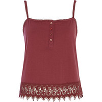 River Island Womens Dark red broderie anglaise hem cami top