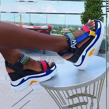 New rainbow plus size sandals, thick-soled high-heeled women's sandals with velcro and platform sole