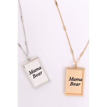 "MYN1421MGMA - ""MAMA BEAR"" ETCHED BRASS BOX PENDANT NECKLACE"