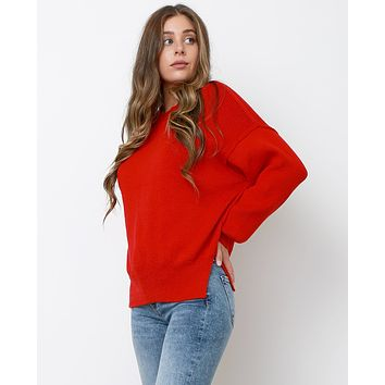 Color Pops Sweater Top - Red