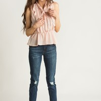 Stacey Pink Ruffle Top