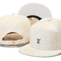 Crocodile Grain hat letters hip-hop hat LV snapback PU leather Casual Outdoor baseball cap