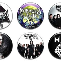 """Set of 6 New Motionless In White 1.25"""" Pinback Button Badge Pin"""