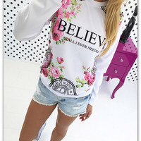 SIMPLE - Floral Printed Long Sleeve T-Shirt a12130