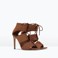 Wraparound leather sandal