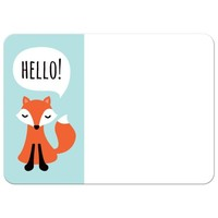 Cute little fox saying Hello, flat 5x7 note card