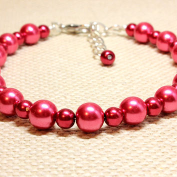 Two Size Glass Pearl Cranberry Red Pearl Dog or Cat Jewelry. Two Tone Metallic Jewelry Cherry Red Beads Dog Couture. Large Bead Pet Bling