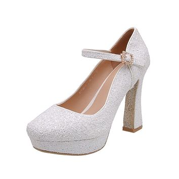 Girls's Chunky Heel Pumps Sequined Bridal Shoes High Heeled
