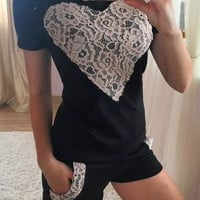 Heart Shape Lace Patchwork Casual Two Piece 10357