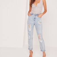 Missguided - Petite Riot Open Rip Mom Jeans Stonewash Blue
