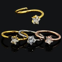 Showlove-1PC Star Zircon Gem Bended Seamless Ring Nose Ring Nose Hoop Rings Ear Tragus Cartilage Body Piercing Jewelry 16G