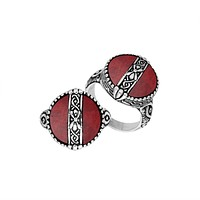 """AR-6265-CR-9"""" Sterling Silver Ring With Coral"""